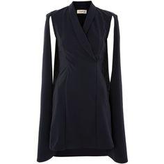 Navy Plunge Blazer Dress by Club L (€51) ❤ liked on Polyvore featuring dresses, navy blue, blazer dress, navy blue dress, club l dresses, navy plunge dress and plunge dress