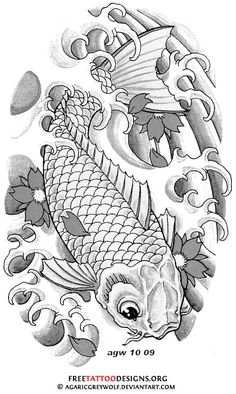 Koi fish and cherry blossom tattoo Koi Tattoo Design, Tattoo Designs, Koi Fish Tattoo, Fish Tattoos, Dragon Koi Fish, Koi Kunst, Koi Fish Designs, Koi Art, Japanese Tattoo Art