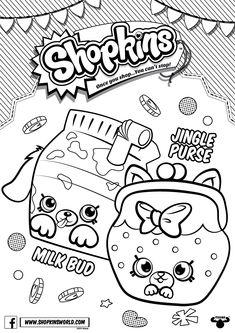 Shopkins Coloring Pages Season 4 Petkins Jingle Purse Milk Bud