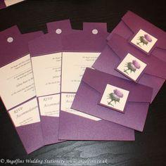 Scottish Thistle Photo Purple Wedding Pocketfold - Vintage Wedding Stationery Scotland - VOWS Award Nominee 2013 Purple Wedding Stationery, Modern Wedding Invitations, Wedding Invitation Design, Invitation Ideas, Scottish Thistle, Scottish Tartans, Pocketfold Invitations, Invites, Wedding Decorations