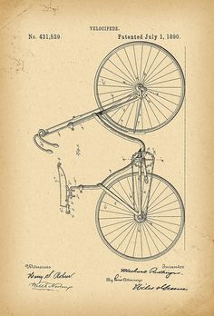 1890 Patent Velocipede Bicycle history invention by Khokhloma