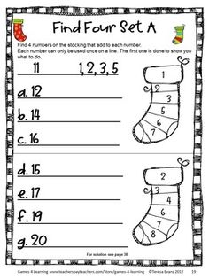 Christmas math puzzle from Christmas Math, Games, Puzzles and Brain Teasers from Games 4 Learning. Loaded with Christmas math fun - includes printable Christmas math board games, printable Christmas math puzzle sheets and Christmas math brain teaser cards. $