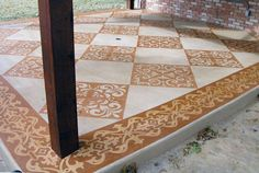 Transforming a boring concrete pad with paint and stencil