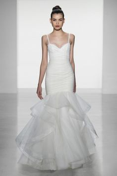 Amsale Wedding - tulle rouched bodice fit to flare gown with straps and corded lace top bodice