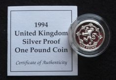 1994 United Kingdom Sterling SIlver Proof One Pound Coin One Pound Coin, United Kingdom, Coins, Sterling Silver, Coining, Rooms, England