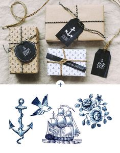 Printable Anchor Gift Tags & Wrapping Paper / Hey Look (via Fellow Fellow)