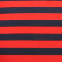 "Navy and Red 1 1/4"" Stripe on Cotton/Spandex Jersey 60"" wide, 12 ounces per yard. 1 yd. Used for pencil skirt."