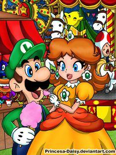 Luigi and Daisy - Night festival by Princesa-Daisy.deviantart.com on @deviantART