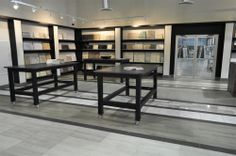 Our studio-style showroom features our extensive collections of natural stone, ceramic tile, porcelain tile, glass tiles, metal tiles and more. Kitchen Showroom, Tile Showroom, Lighting Showroom, Showroom Design, Showroom Ideas, Interior Design, Travertine Tile, Marble Tiles, Glass Tiles
