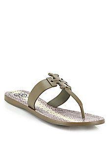 7d49a74f210b76 Tory Burch - Moore Leather Logo Flat Sandals Flat Sandals, Cute Shoes, Tory  Burch