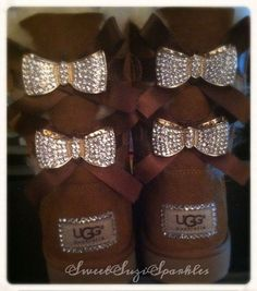 Custom Bling Ugg boots Chestnut Bailey Bow by SweetSuziSparkles