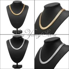 Statement Chunky Link Collar Bib Choker Snake Gold/Silver Chain Party Necklace