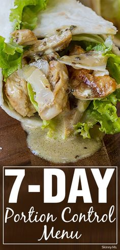 Eat for weight loss with this delicious 7-Day Portion Control Menu!  #portioncontrol #menuplanning #lowcalorie