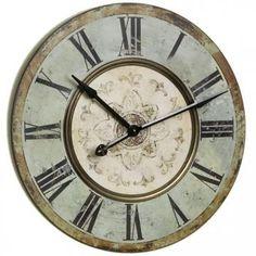"""Wooden Wall Clock - 29"""" diam, $89, homedecorators.com, distressed aqua color"""