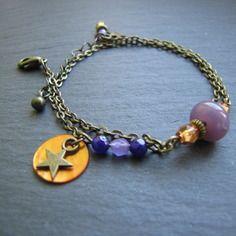 Bracelet thalie - verre de bohême (perle tchèque) mauve et perles jades violettes, sequin orange