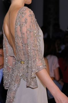 elie saab sheer & shimmery embroidered dress with chiffon shirt.