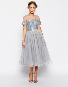 Vestido de malla de primera calidad con tutú de ASOS SALON