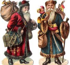 Oblaten Glanzbild scrap die cut Nikolaus 8,5cm santa father XMAS Weihnachtsmann