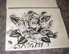 Old school money rose tattoo