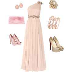 Nude dress Pink shoes