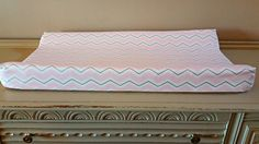 Pink / White &Gold Chevron Changing Pad Cover