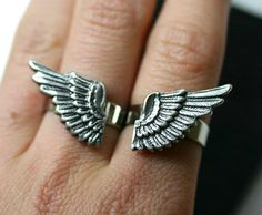 Angel Wing Ring Set SILVER Double Finger
