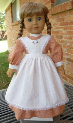 18 Doll Clothes Prairie Style Dress and Pinafore by Designed4Dolls, $26.95