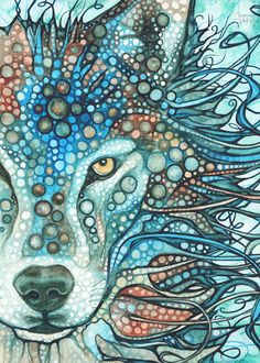 5 x 7 print  I painted this beautiful Wolf I call Timber, in soft sky blue, grey and turquoise earth tones. It is a reflection of my time spent in wolf territory.  Let this painting inspire both children and adults alike, and remind of the beautiful beings that walk this earth and guide us.  I have a profound love and appreciation for the natural world and I am honoured to share its beauty with you.  xo Tamara
