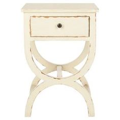 """Weathered poplar end table with one drawer and a curved base.   Product: End tableConstruction Material: Poplar wood and zincColor: Distressed vanillaFeatures:  Zinc knobOne drawer Dimensions: 26.75"""" x 18"""" W x 15"""" D"""