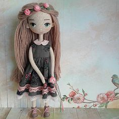 This Pin was discovered by Нат Crochet Fairy, Cute Crochet, Crochet Motif, Knitted Dolls, Crochet Dolls, Basic Crochet Stitches, Fairy Dolls, Diy Doll, Owls