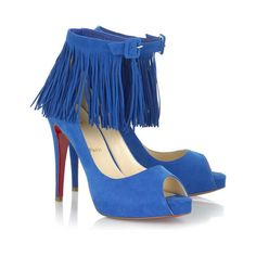Christian Louboutin Short Tina 120 suede ankle sandals ($574) ❤ liked on Polyvore