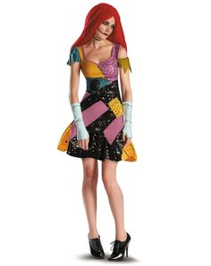 The Adult Sally costume includes a patchwork style mini dress with black sequin detail, fingerless gloves with stitch print and red yarn wig. Adult Sally Costume, Nightmare Before Christmas Sally Costume, Womens Sally Costume, Sally Halloween Costume Sally Halloween Costume, Halloween 2014, Halloween Fancy Dress, Adult Halloween, Halloween Town, Spirit Halloween, Halloween Ideas, Halloween Rave, Deer Costume