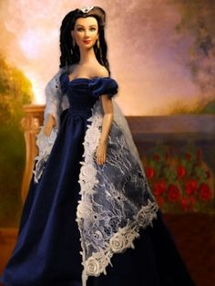 "Dave's ""Scarlett Portrait"": Scarlett OHara wearing the gown seen in the Portrait hanging in her Atlanta  mansion #fashion #dolls"