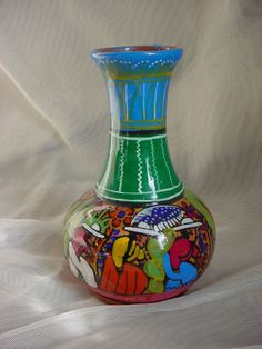 Hand Painted Art Pottery Vase South American Motif 6 Inch Colorful Seller florasgarden on ebay