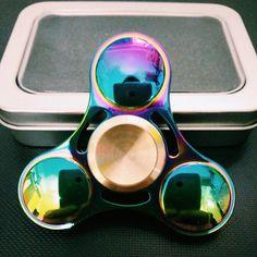 2017 Newest 2 Colors Rainbow Titanium Alloy Hand Spinner Fingertips Spiral Fingers Gyro Torqbar Fidget Spinner