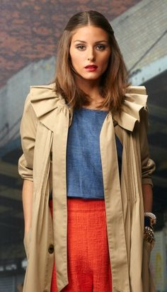 I'm not quite sure what's up with the coat collar, but the chambray-tangerine linen combo is killer...
