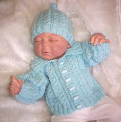 Hand Knitted Jacket/Sweater and Hat Set by knittingpretty0115, £17.00
