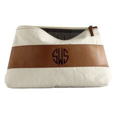 Monogrammed cosmetic pouch