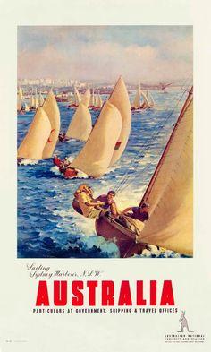 Sailing Sydney Harbour by James Northfield - Australian Vintage Posters Sydney Australia Travel, Posters Australia, Australian Vintage, Tourism Poster, Railway Posters, Vintage Travel Posters, Retro Posters, Dorm Posters, Advertising Poster