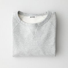 ACNE College Pullover Sweatshirt ($119) ❤ liked on Polyvore featuring men's fashion, men's clothing, tops, sweaters, folded, jumpers, grey melange and vintage mens clothing
