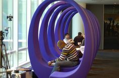 This circular bench is in an office building (Bloomberg in NYC) but could also inspire public artists....