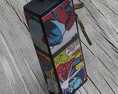 Repurposed Jenga Block Keychain Spiderman Comics
