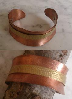 De cobre con adorno latón. Cuff Bracelets, Leather, Jewelry, Copper, Ornaments, Bangle Bracelets, Jewlery, Jewerly, Schmuck