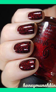 Layering:  Black, OPI – Stay the Night & China Glaze – Ruby Pumps