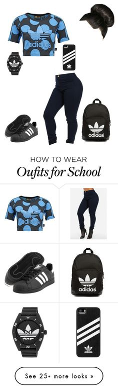 """School today-loy"" by mindless-loyalty on Polyvore featuring adidas Originals, adidas and Boohoo"