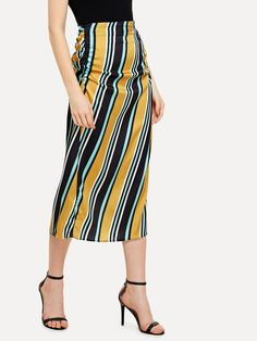 Shirred Side Striped Skirt -SheIn(Sheinside)
