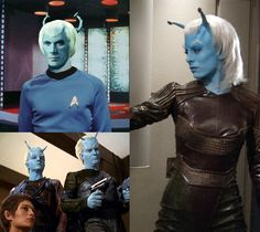 Andorian alien from Star Trek I wanted to do this because I needed 1 more reason to wear my Star Trek uniform. Andorian traits include: blue skin, a pair of cranial antennae , and white hair. Star Trek Crew, Star Trek 1, Star Trek 2009, Watch Star Trek, Star Trek Ships, Star Trek Andorian, Star Trek Cosplay, Sci Fi Tv Shows, Star Trek Characters