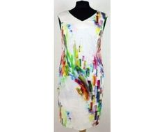 White sleeveless dress with bright colourful pattern all over. Sizes 12 and 14 left in store or online at www.middeltonwood.co.uk.