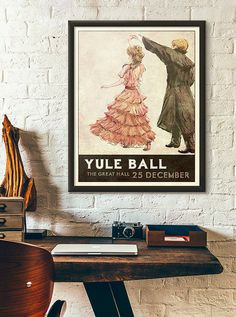 11 x 17 Yule Ball Poster Retro Style Inspired by Harry Hermione Dress, Vintage Travel, Vintage World Maps, Ball Drawing, Ball Decorations, Yule Ball, Literary Gifts, Retro Stil, Kugel
