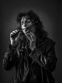 Alice Cooper by Andy Gotts Andy Gotts, Alice Cooper, Beautiful Celebrities, New Work, Musicians, Poses, Black And White, Portraits, Photograph